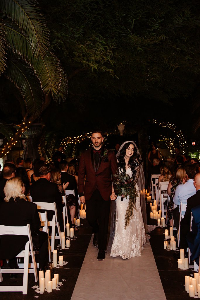 There were lights everywhere and candles lined up the aisle to create an ambience