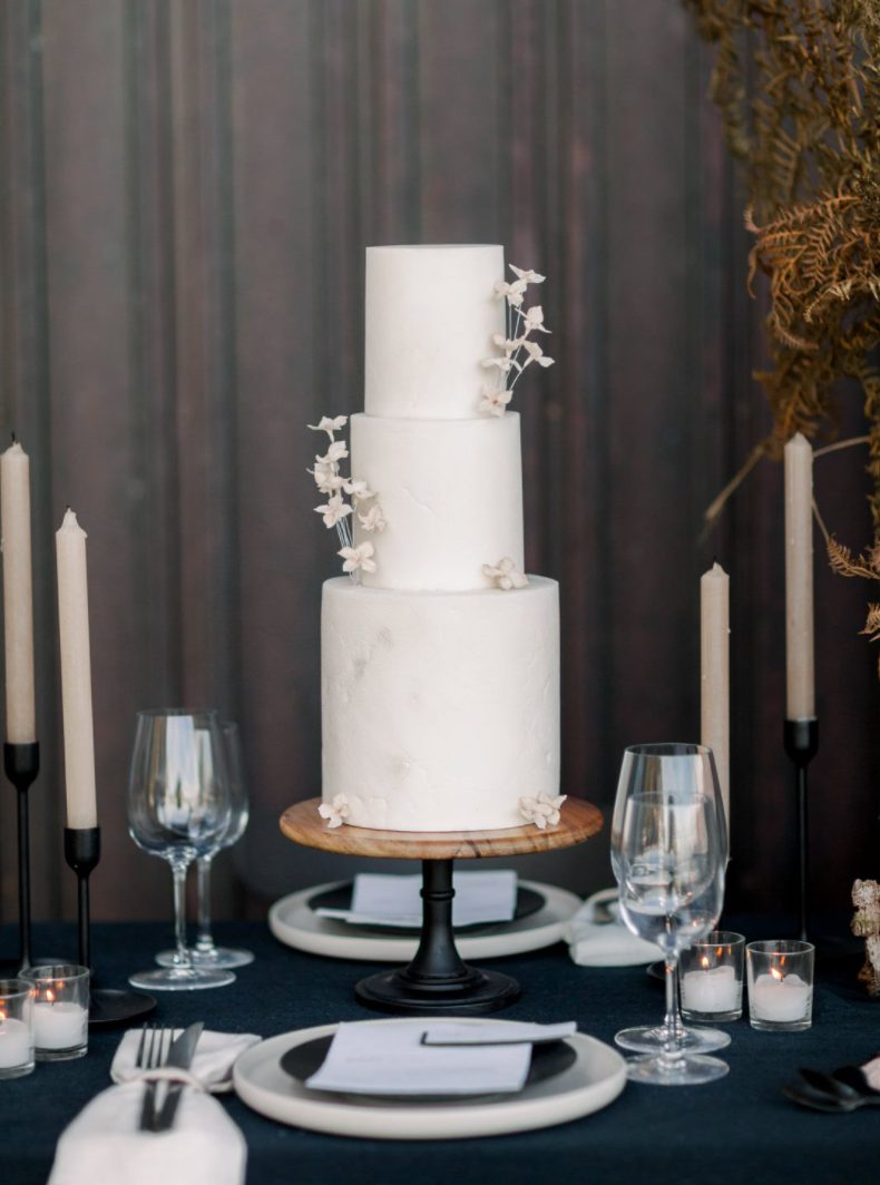 The wedding cake was a textural white one, with sugar blooms and looked very refined and beautiful