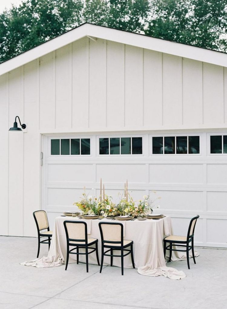 The wedding reception was by the barn using its light walls as a backdrop