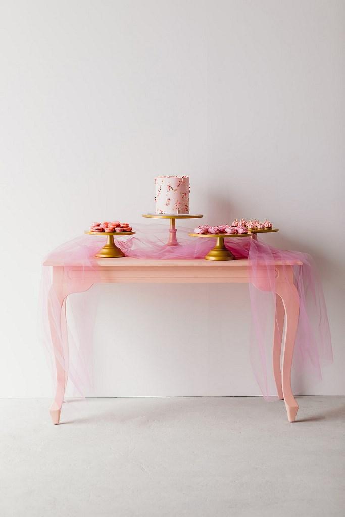 stylish pink wedding dessert table