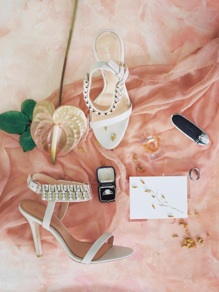 The wedding shoes were glam embellished ones, and there were many elegant details
