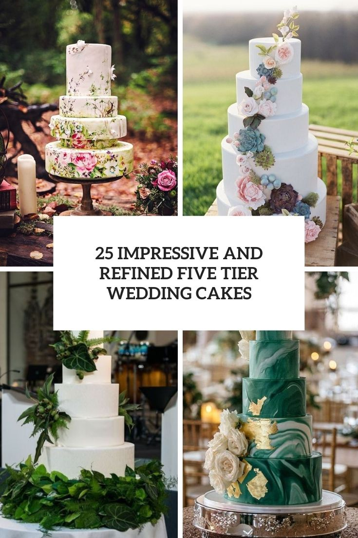 impressive and refined five tier wedding cakes cover