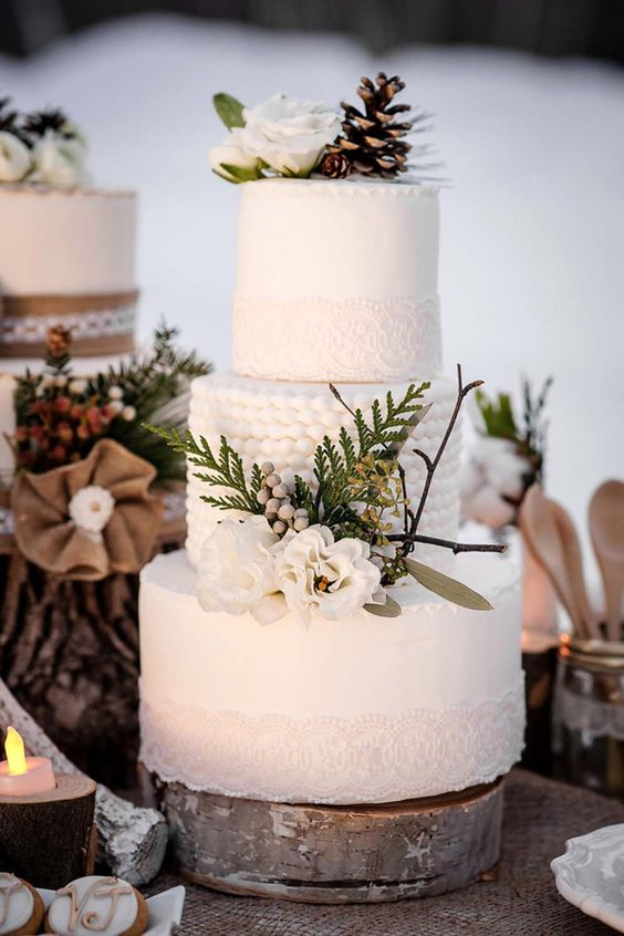 a beautiful winter wedding cake with white lace, beaded tier, ferns, twigs,, white blooms and a pinecone on top