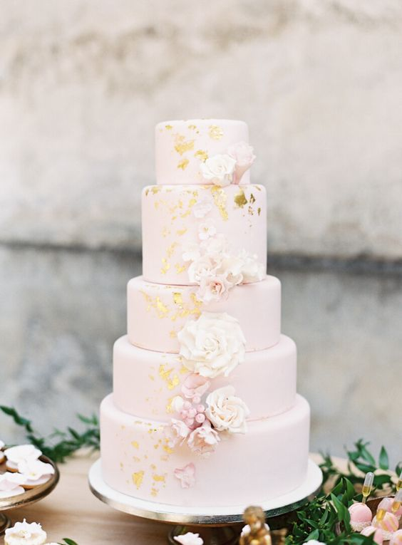 a refined blush five tier wedding cake with gold foil and sugar and fresh blooms and berries is a beautiful idea for a spring or summer wedding
