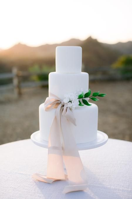 a sleek white wedding cake with a blush bow, white berries and a greenery branch for a refined modern wedding