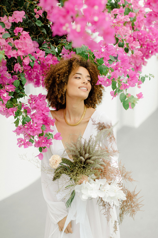 Romantic Santorini Seaside Micro Wedding Shoot