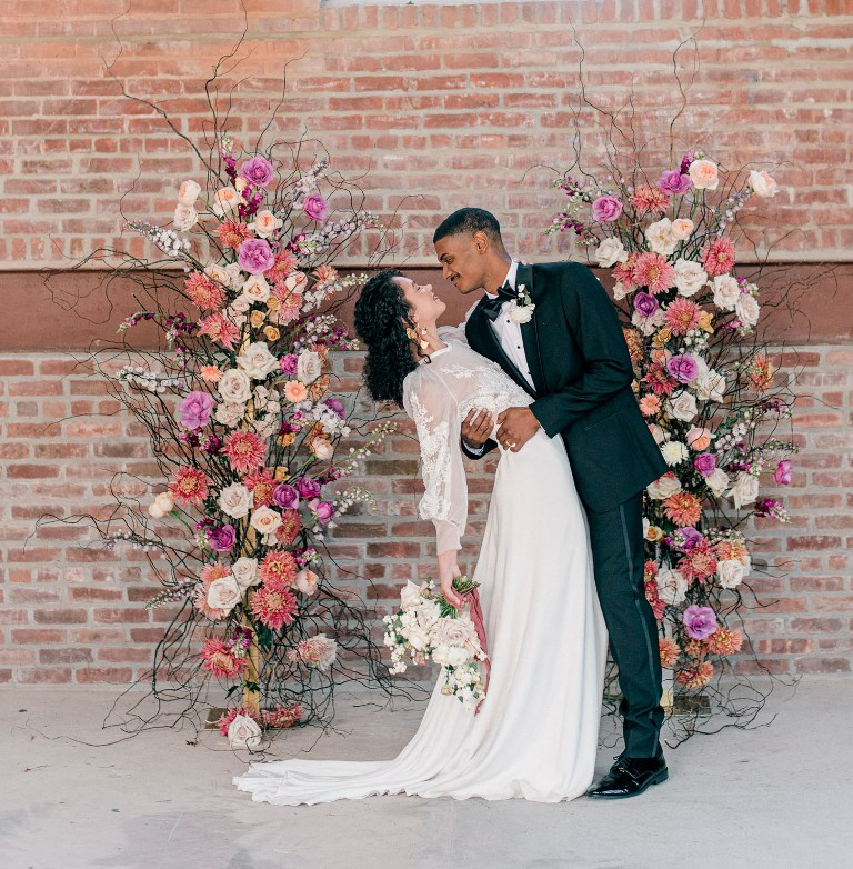 This industrial micro wedding shows a beautiful color palette of muted rainbows