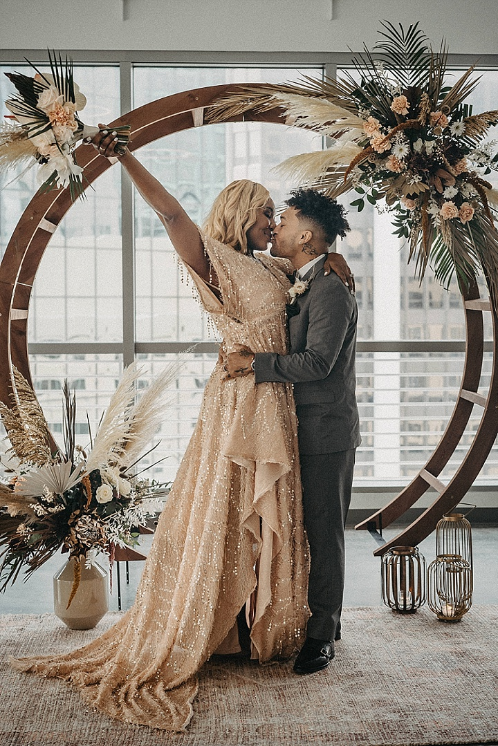 This wedding was a rooftop micro one, with an urban booh glam feel