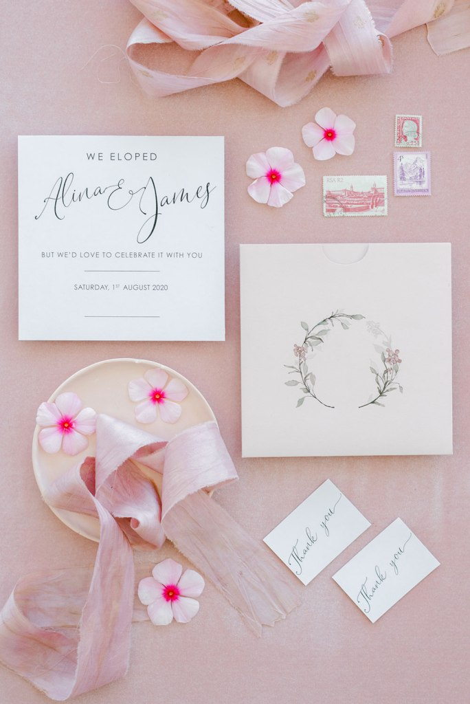 The wedding stationery was done elegant, with watercolors and chic calligraphy
