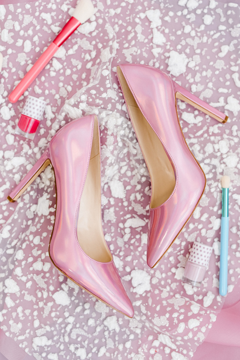 The wedding shoes were bold pink ones to match the color scheme