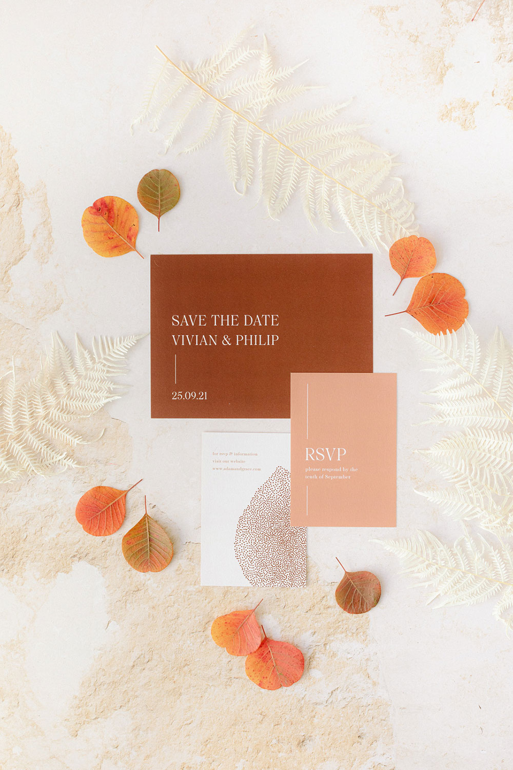 The wedding stationery suite was done in rust, blush and white, with modern lettering