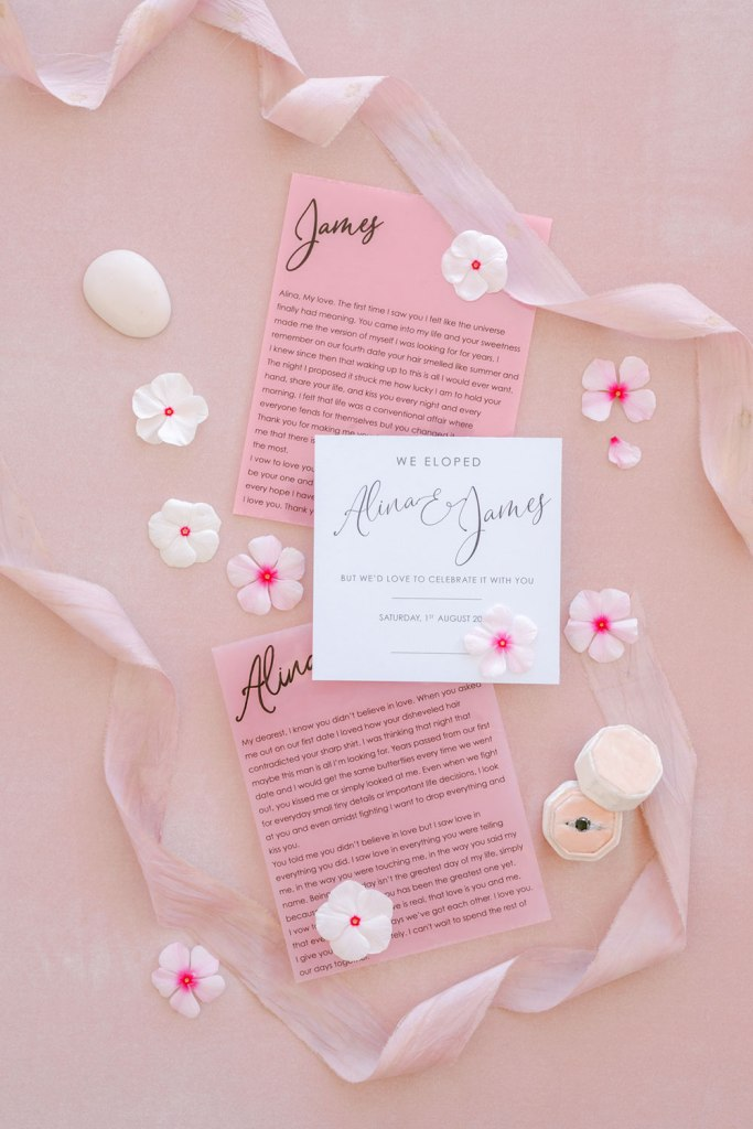 The wedding vows were done in pink and black to match the color scheme