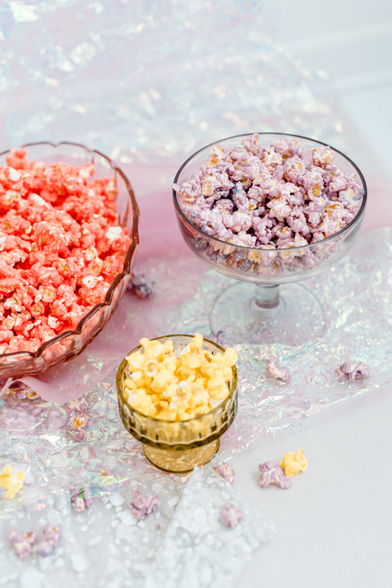 Eating colorful popcorn while preparing - why not