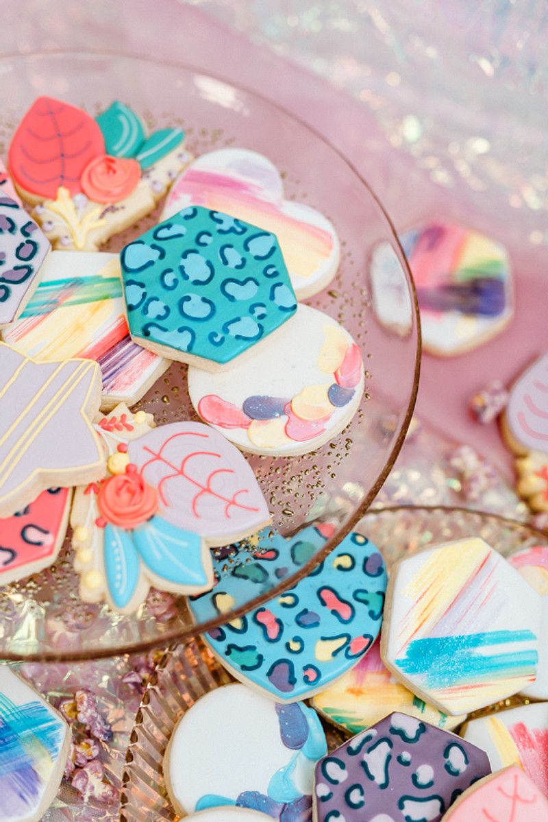 There were colorful and painted cookies and sweets served for the shoot