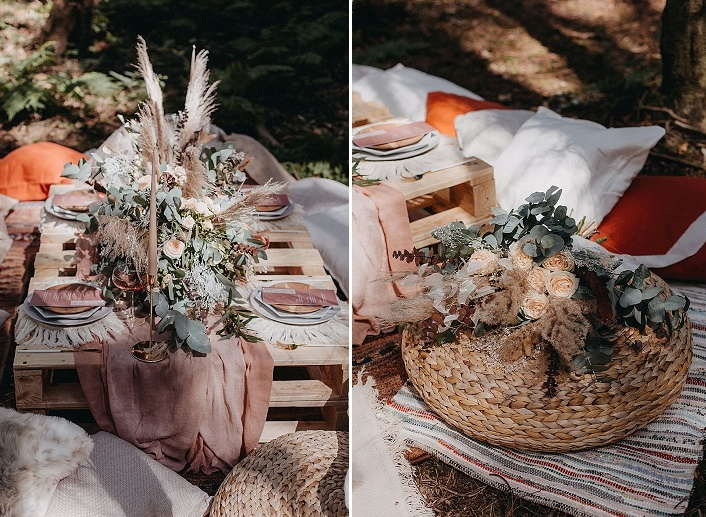 06 The wedding picnic table was decorated with a mauve runner and menus, pampas grass and greenery