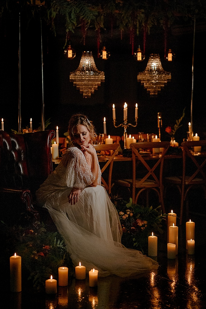 The wedding setting was done with candles, greenery and bright blooms