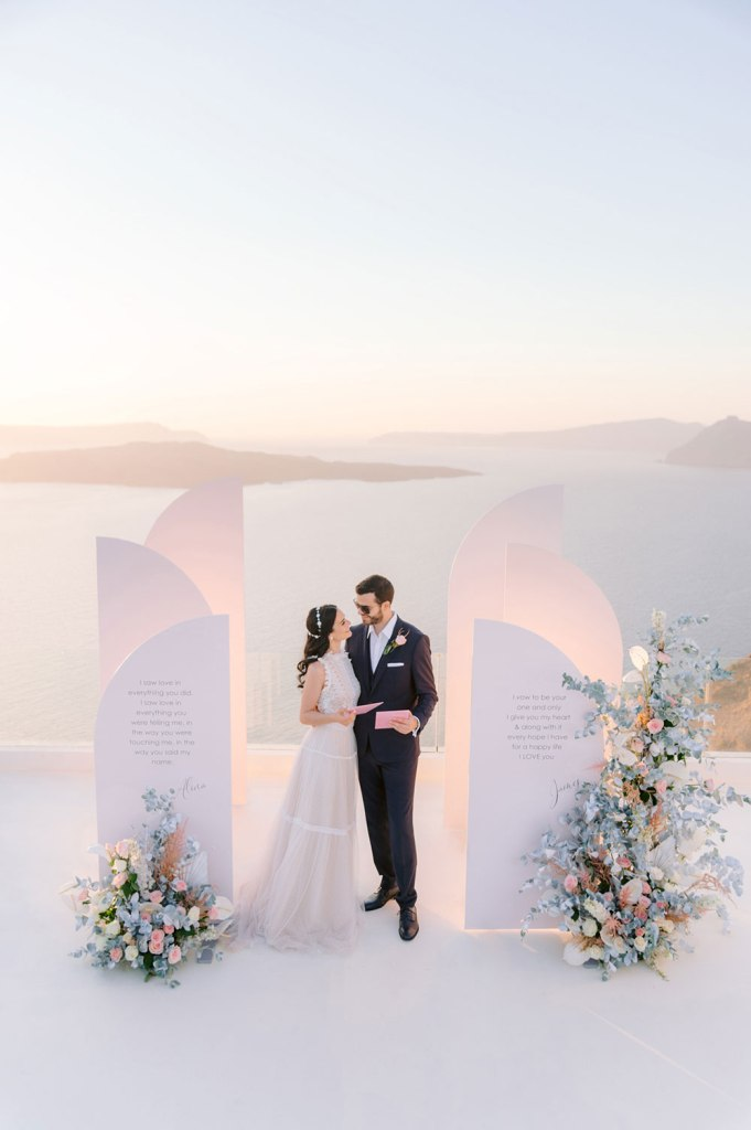 The wedding backdrop showed a gorgeous view and there were pastel florals around