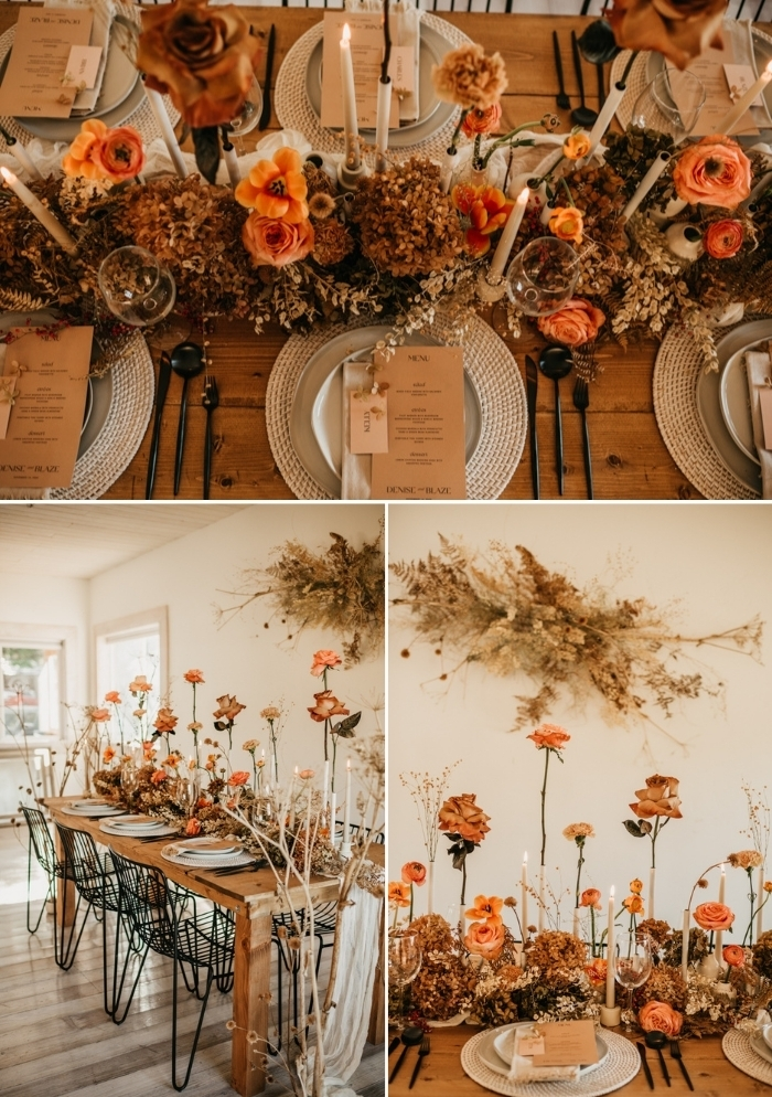 08 The wedding tablescape was done with dried blooms and fresh bold ones, dried grasses and leaves, woven chargers, candles and black cutlery