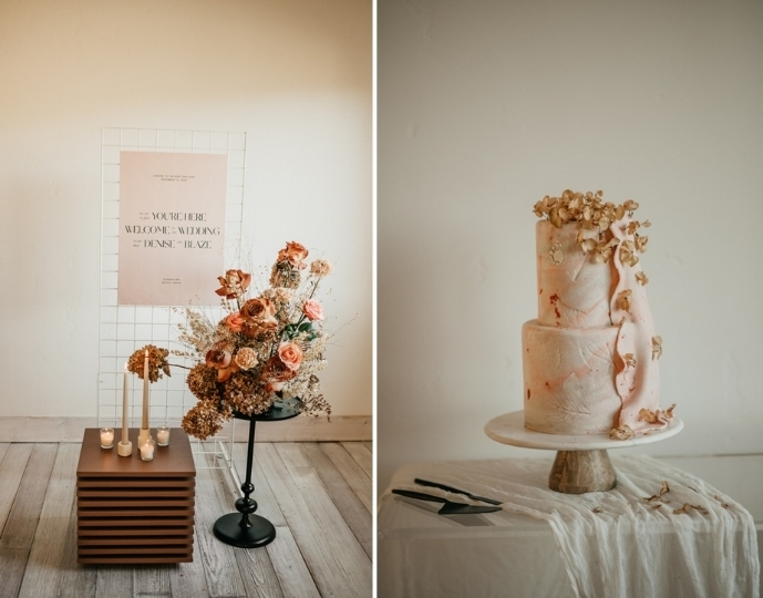 The wedding cake was a blush watercolor one, topped with dried blooms