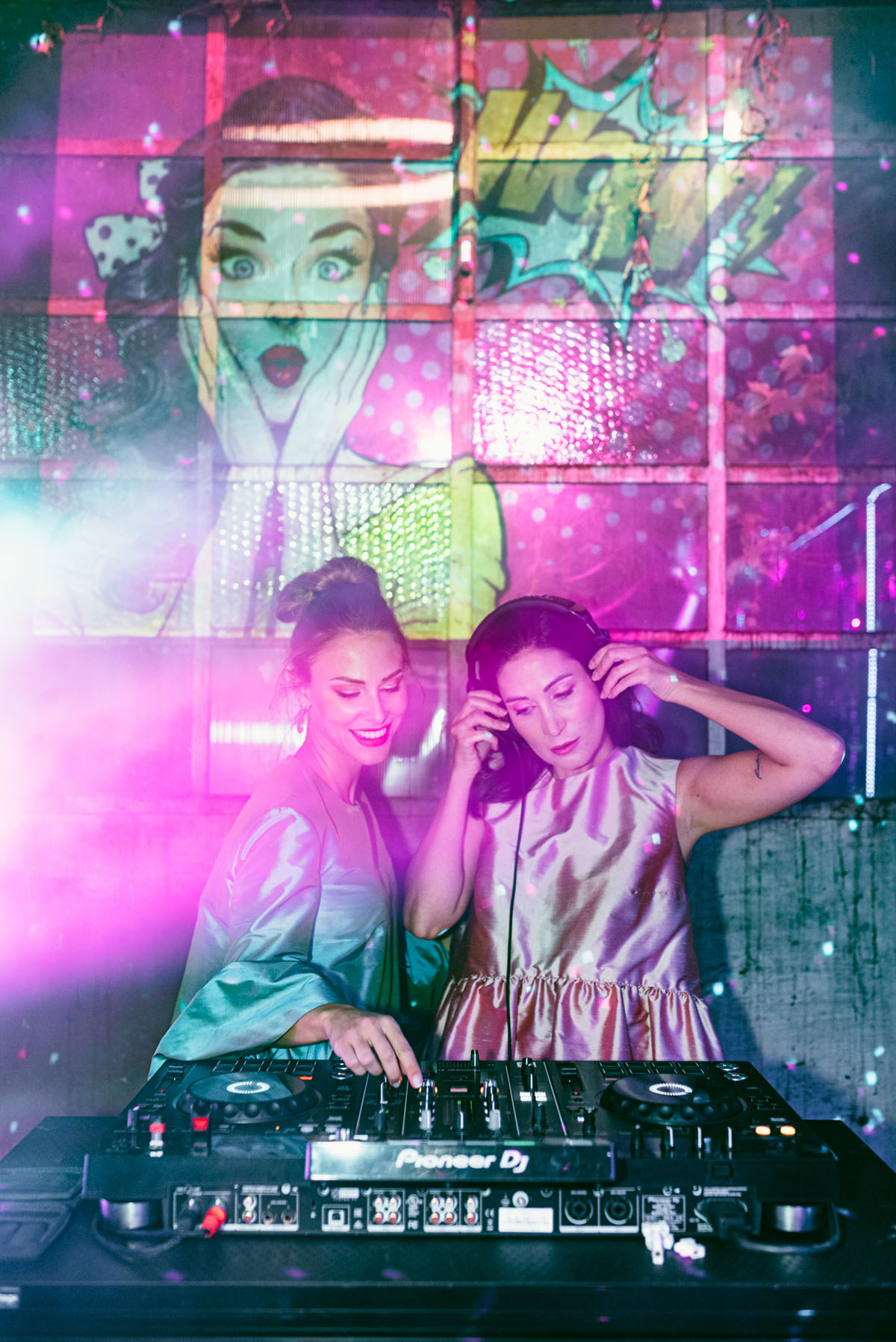 The brides as DJs - so fun and cool
