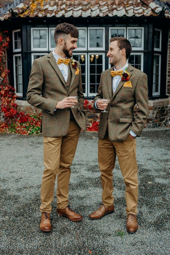 elegant groom's looks with woolen blazers and vests, tan pants, brown shoes, yellow bow ties and porcket squares