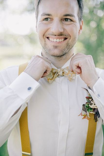 accessorize your look with a mustard floral bow tie and matching suspenders to look bolder and more colorful