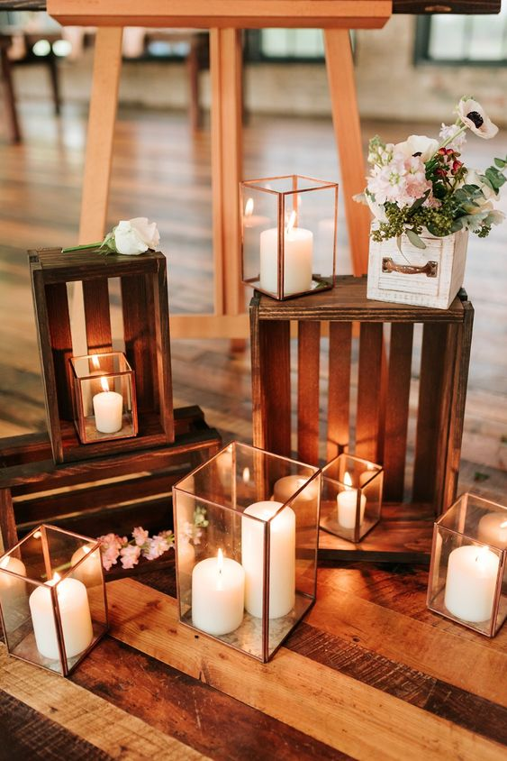 bring some cool wedding decor from home - candle lanterns, crates, boxes to decorate your space