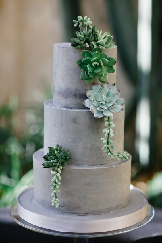 a grey textural wedding cake topped with fresh succulents is a great idea for a modern and laconic wedding