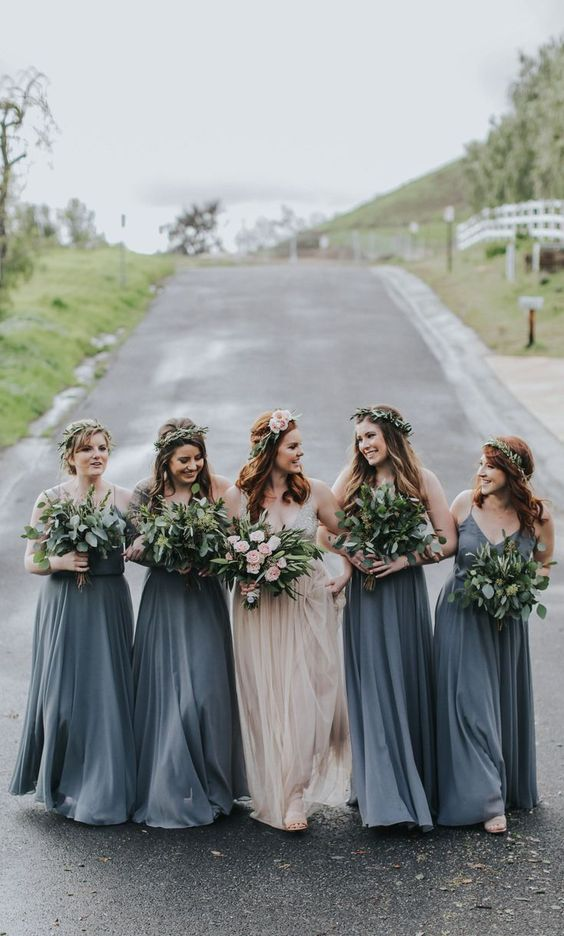 graphite grey A-line maxi bridesmaid dresses with spaghetti straps and V-necklines are classics for summer