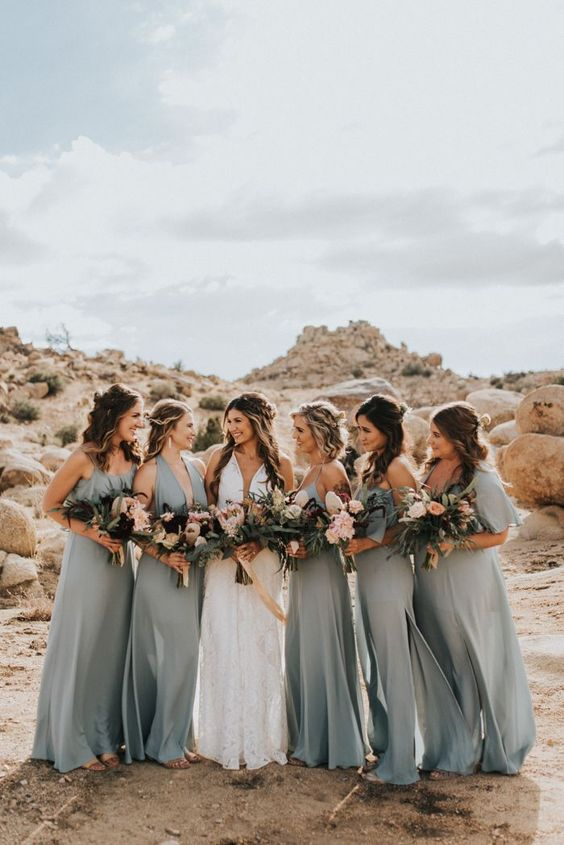 mismatched light grey bridesmaid maxi dresses with various necklines are amazing for a spring or summer wedding