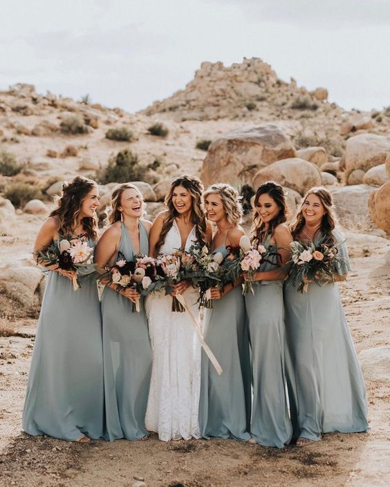 mismatching grey maxi bridesmaid dresses with all kinds of necklines are great for a spring or summer weddings