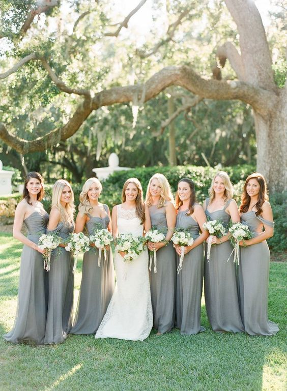 strapless, sleeveless, off the shoulder grey maxi bridesmaid dresses with various necklines are very cool
