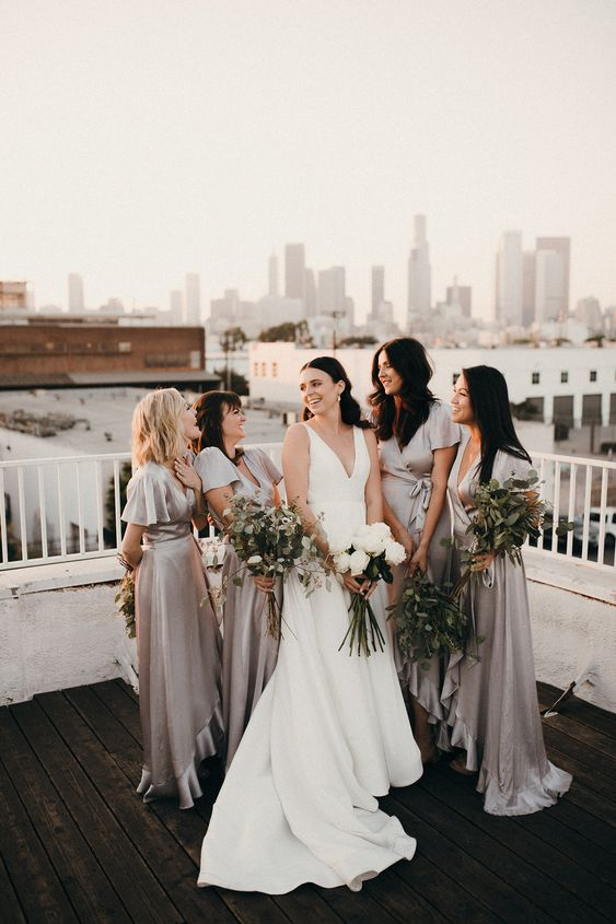 stylish silver grey wrap high low bridesmaid dresses with short sleeves and deep necklines are a timeless idea
