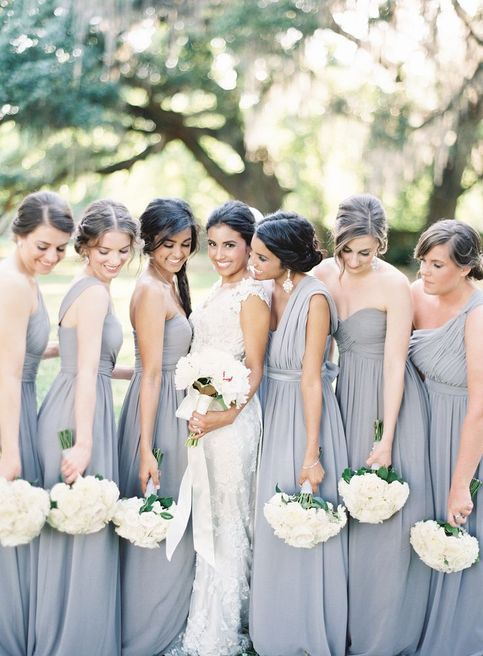 very elegant strapless and one shoulder grey maxi bridesmaid dresses with draped bodices are classics and chic