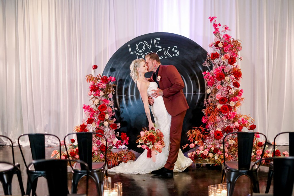 This bold and non cheesy wedding shoot showed how an out of the box Valentine's Day wedding could look