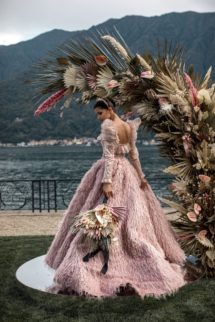 Lake Como Elopement With A Pink Feather Wedding Dress