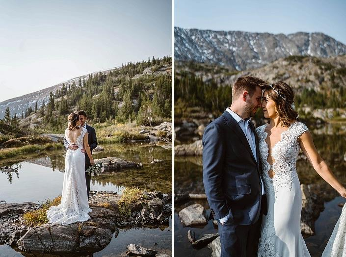 The bride was wearing a mermaid wedding dress with lace inserts and a train, the groom was wearing a navy suit and a blue shirt