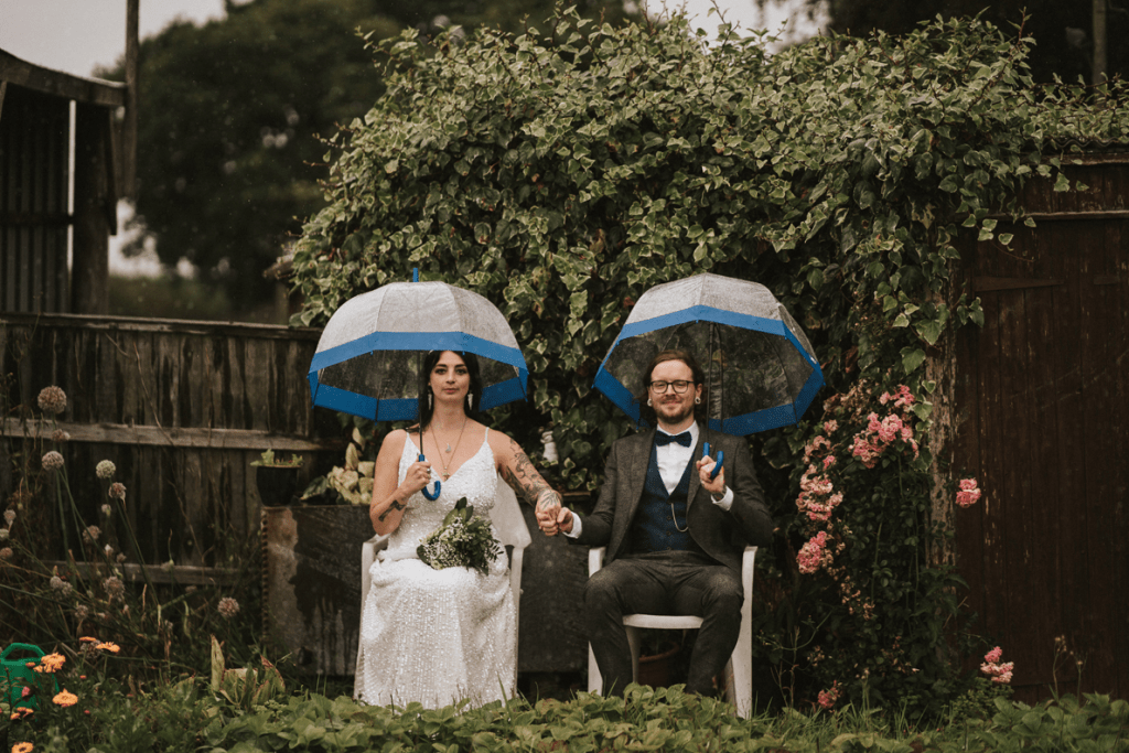 The couple didn't care about the rain, just relaxed and had fun at the wedding