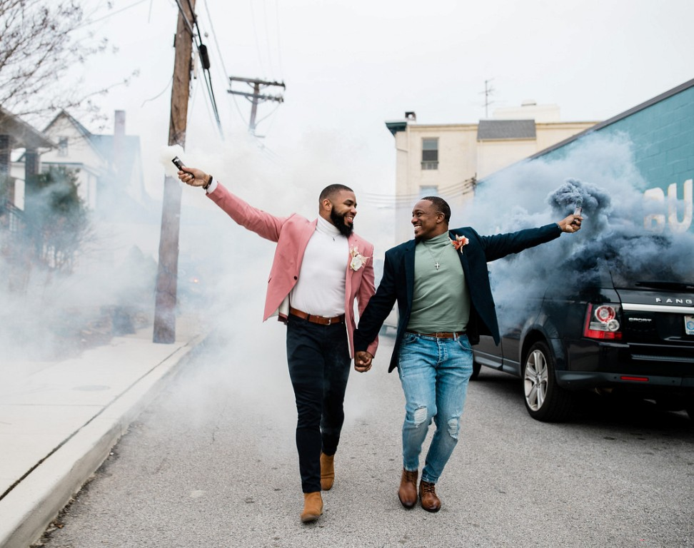 They went for a walk in the city with some smoke bombs