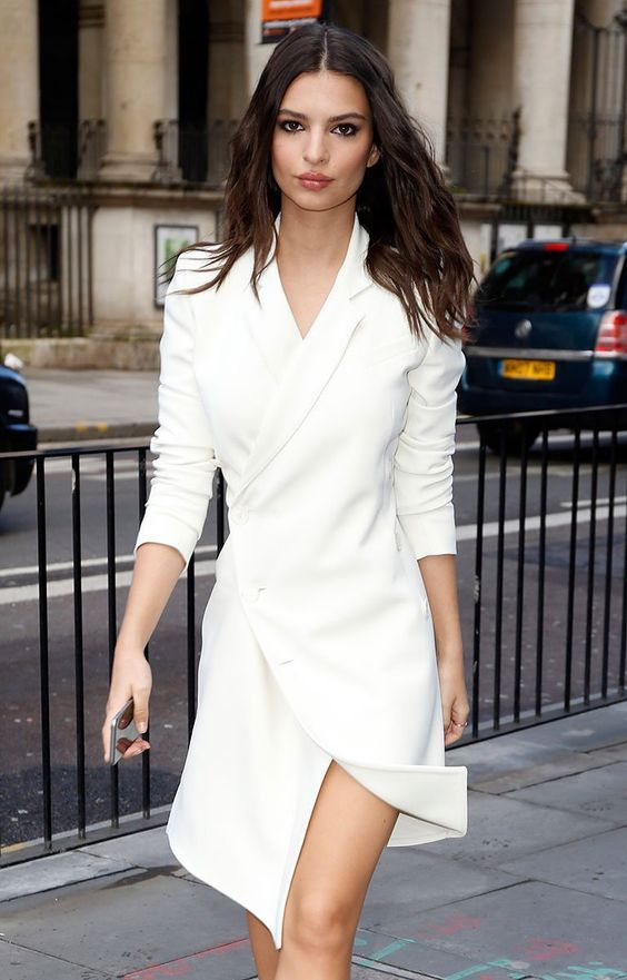 a minimalist knee tuxedo wedding dress in white is a perfect idea for a city hall wedding or to wear for your reception