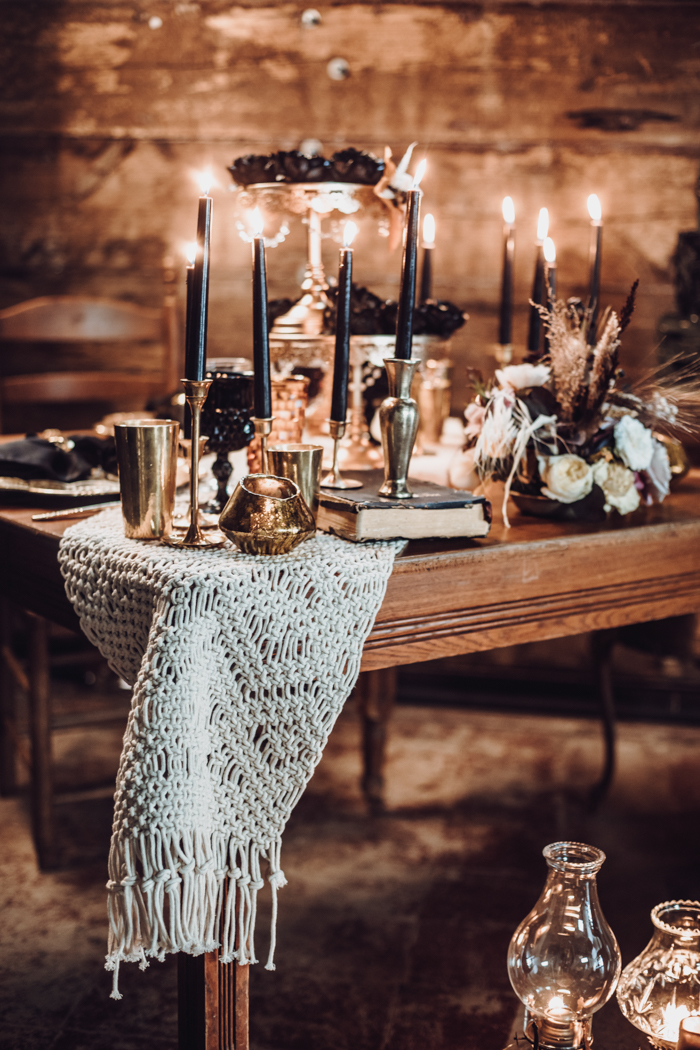 There were lovely and moody florals and black candles everywhere to keep the decor theme up