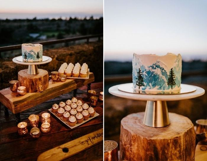 There was an adorable sweets table, with a painted cake, some cupcakes and candles around