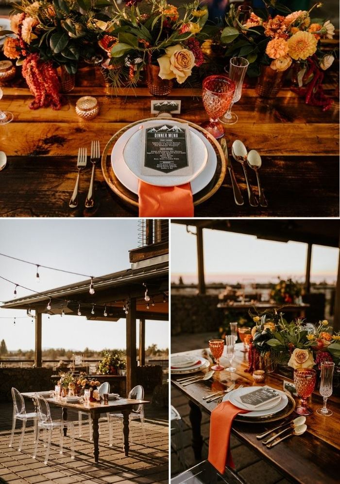 The wedding tablescape was done with bright glasses, coral napkins and touches of gold and bold blooms