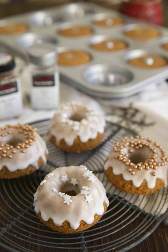 mini bundt wedding cakes with glazing and stars and beads are lovely desserts for a small wedding