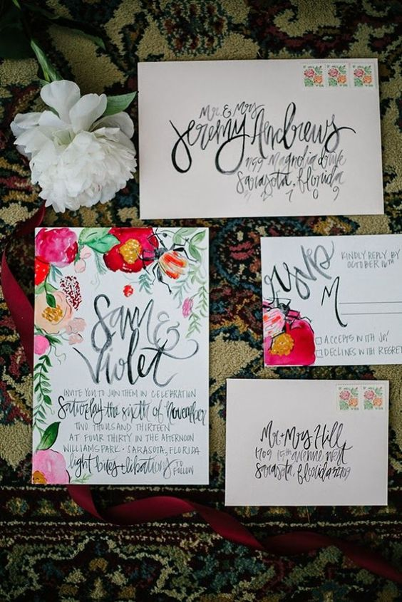 a fun and bright hand-illustrated floral invitation suite with calligraphy for a cheerful and relaxed summer wedding