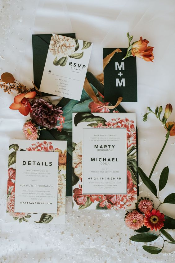 a modern floral garden wedding invitation suite in bright shades is a very chic idea for a contemporary wedding