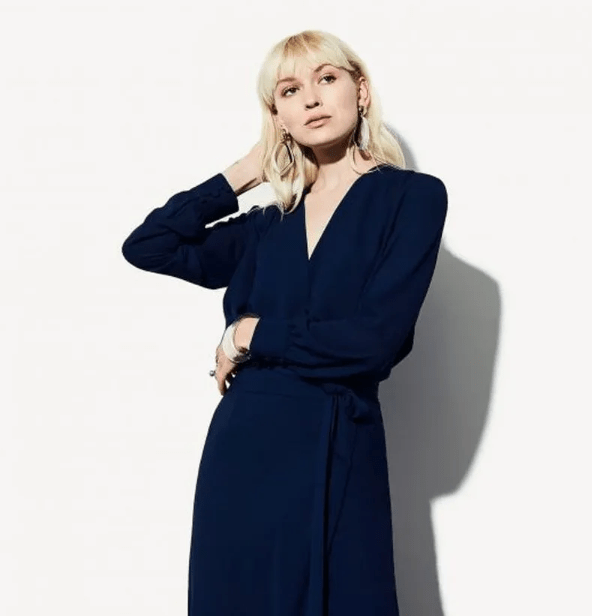 a navy wrap midi dress, statement silver accessories are all you need for a super chic look
