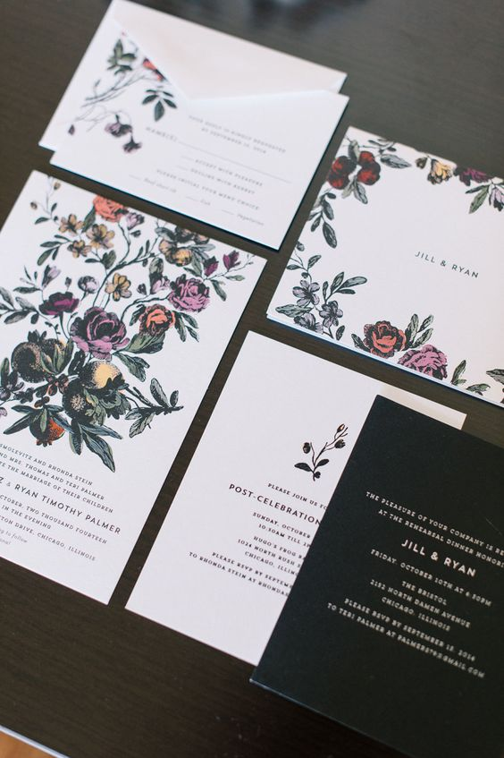 a refined and moody floral invitation suite with a neutral envelope and a black piece for a winter wedding