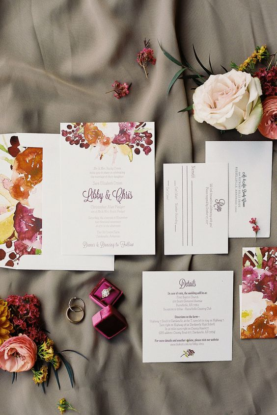 a refined bold watercolor floral wedding invitation suite is a gorgeous idea for a fall wedding