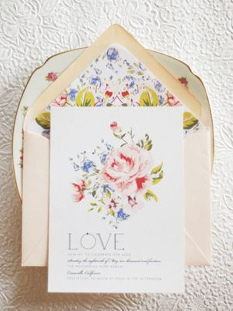 a romantic soft floral wedding invitation suite is a lovely idea for a vintage-inspired garden wedding